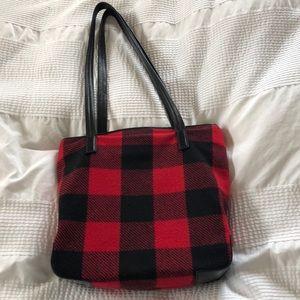 Pendleton Wool Bag Red Plaid tote shopper leather
